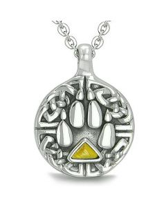 Amulet Celtic Shield Knot Wolf Paw Protection Charm Magic Triangle Tiger Eye Pendant Necklace