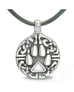 Amulet Celtic Shield Knot Wolf Paw Protection Charm Triangle Energy White Cats Eye Necklace