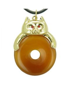 Fortune Cat Lucky Donut Evil Eye Protection Talisman Carnelian Pendant Necklace
