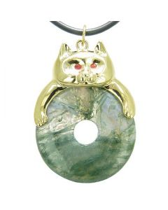 Fortune Cat Lucky Donut Good Luck Talisman Green Moss Agate Pendant Necklace