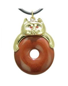 Fortune Cat Lucky Donut Believe Powers Talisman Red Jasper Pendant Necklace