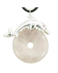 Dolphin Lucky Gemstone Donut Love Talisman Rose Quartz Pendant Necklace