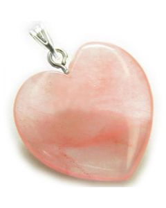 A Lucky Puffy Cherry Quartz Gemstone Heart Evil Eye Protection Talisman Pendant