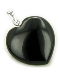 A Lucky Puffy Black Onyx Gemstone Heart Spiritual Protection Talisman Pendant