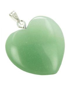 A Lucky Puffy Green Aventurine Gemstone Heart Money Talisman Pendant