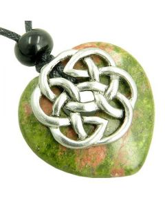 Amulet Celtic Shield Knot Puffy Heart Unakite Gemstone Pendant Necklace