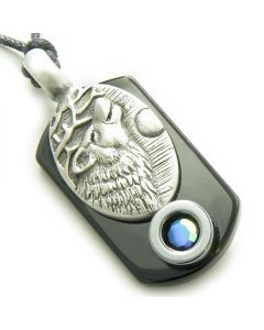 Amulet Howling Wolf Tag Black Onyx and Hematite Magic Necklace