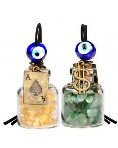 Ace Magic Dollar Symbol Powers Small Car Charms Home Decor Gem Bottles Citrine Green Quartz Amulets