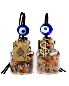 Ace Magic Dollar Symbol Powers Small Car Charms or Home Decor Bottles Tiger Eye Unakite Amulets
