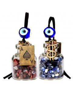 Ace Magic Dollar Symbol Powers Small Car Charms or Home Decor Bottles Sodalite Jasper Amulets