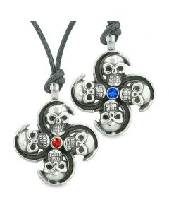 Supernatural Skull Amulet Powers Love Couples Best Friends Royal Blue Red Crystals Necklaces