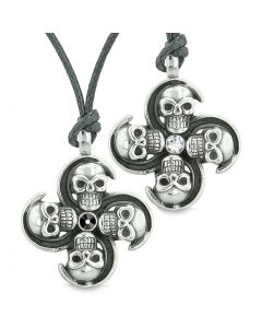 Supernatural Skull Amulet Powers Love Couples or Best Friends Black White Crystals Necklaces