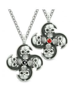 Supernatural Skull Amulet Powers Love Couples or Best Friends Black Red Crystals Pendant Necklaces