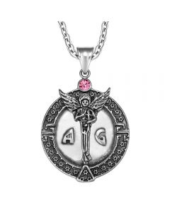 Guardian Archangel Michael Medallion Star of David Accents Amulet Pink Crystal Pendant 22 Inch Necklace