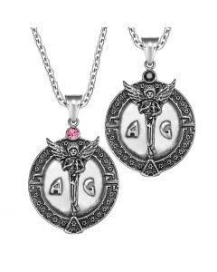 Archangel Michael Star of David Accents Love Copules or Best Friends Amulets Set Black Pink Necklaces