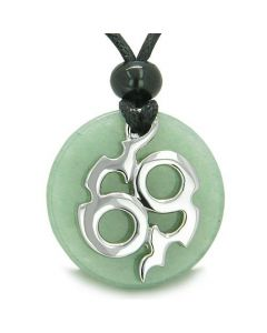 Amulet Infinity Symbol Magic Fire Energy Medallion Aventurine Good Luck Powers Pendant Necklace