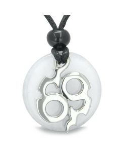 Amulet Infinity Symbol Magic Fire Energy Medallion White Jade Good Luck Powers Pendant Necklace