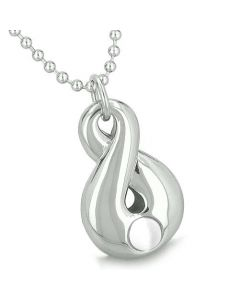 Amulet Infinity Magic Symbol Eternity Powers White Cats Eye Gemstone Spiritual Pendant Necklace