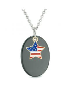 Proud American Flag Spirit Cute Super Star Lucky Charm Black Agate Spiritual Amulet 22 Inch Necklace