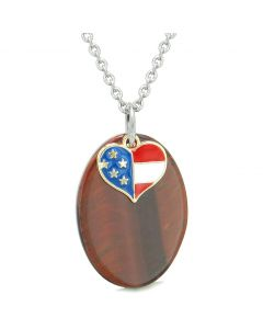 Proud American Flag Spirit Cute Super Heart Lucky Charm Red Tiger Eye Spiritual Amulet 22 Inch Necklace