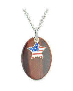 Proud American Flag Spirit Cute Super Star Lucky Charm Red Tiger Eye Spiritual Amulet 22 Inch Necklace