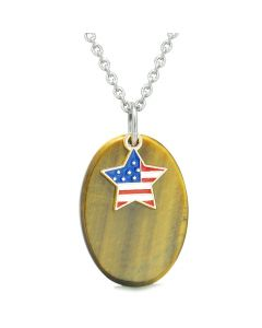 Proud American Flag Spirit Cute Super Star Lucky Charm Tiger Eye Spiritual Amulet 22 Inch Necklace
