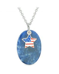 Proud American Flag Spirit Cute Super Star Lucky Charm Sodalite Spiritual Amulet 18 Inch Necklace