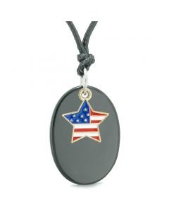 Proud American Flag Spirit Cute Super Star Lucky Charm Black Agate Spiritual Amulet Adjustable Necklace