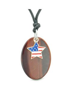 Proud American Flag Spirit Cute Super Star Lucky Charm Red Tiger Eye Spiritual Amulet Adjustable Necklace