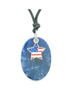 Proud American Flag Spirit Cute Super Star Lucky Charm Sodalite Spiritual Amulet Adjustable Necklace