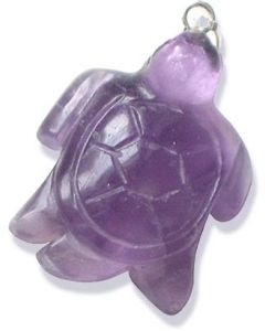 Amethyst Lucky Crystal Turtle Pendant