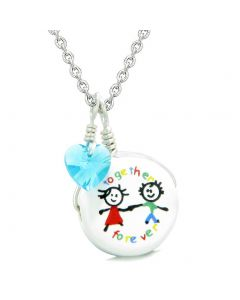 Handcrafted Cute Ceramic Charm Best Friends Together Forever Blue Heart Amulet Pendant 22 Inch Necklace