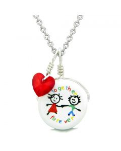 Handcrafted Cute Ceramic Charm Best Friends Together Forever Red Heart Amulet Pendant 18 Inch Necklace