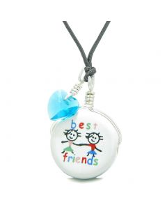 Handcrafted Cute Ceramic Charm Couple Best Friends Forever Blue Heart Amulet Pendant Adjustable Necklace