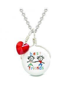 Handcrafted Cute Ceramic Charm Couple Best Friends Forever Red Heart Amulet Pendant 22 Inch Necklace
