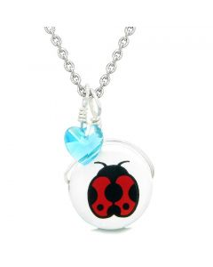 Handcrafted Cute Ceramic Lucky Charm Adorable Lady Bug Sky Blue Heart Amulet Pendant 22 Inch Necklace