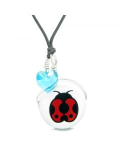 Handcrafted Cute Ceramic Lucky Charm Adorable Lady Bug Sky Blue Heart Amulet Pendant Adjustable Necklace