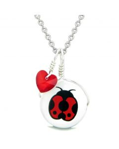 Handcrafted Cute Ceramic Lucky Charm Adorable Lady Bug Royal Red Heart Amulet Pendant 22 Inch Necklace