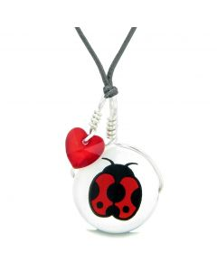 Handcrafted Cute Ceramic Lucky Charm Adorable Lady Bug Royal Red Heart Amulet Pendant Adjustable Necklace