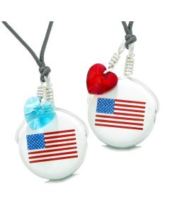 Love Couples or BFF Set Cute Ceramic Amercian Flag Charms Blue Red Hearts Amulet Adjustable Necklaces