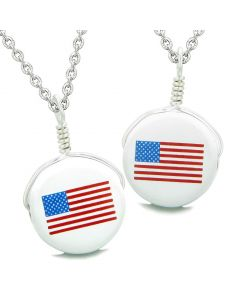 Love Couples or Best Friends Set Cute Ceramic Amercian Flag Lucky Charm Amulet Pendant Necklaces