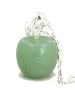 Apple Pendant in Aventurine Gemstone Sterling Silver 18 Necklace