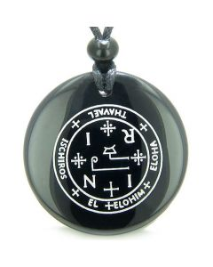 Sigil of the Archangel Thavael Magical Amulet Black Onyx Magic Circle Spiritual Pendant Necklace