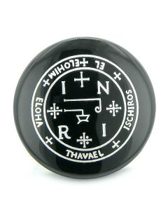 Sigil of the Archangel Thavael Magical Amulet Black Onyx Magic Circle Spiritual Keepsake Totem
