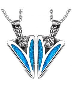 Arrowhead Grizzly Bear Head and Paw Love Couples BFF Set Protection Amulets Simulated Turquoise Necklaces