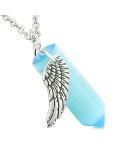Amulet Angel Wing Magic Energy Crystal Point Sky Blue Simulated Cats Eye Pendant Necklace