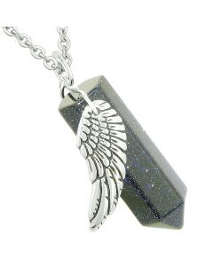 Amulet Angel Wing Magic Energy Wand Crystal Point Blue Goldstone Crystal Pendant 22 Inch Necklace
