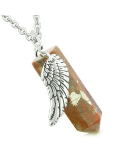 Amulet Angel Wing Magic Energy Crystal Point Dragon Blood Jasper Crystal Pendant Necklace