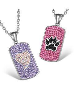 Heart Wolf Paw Austrian Crystal Love Couples Best Friends Dog Tag Purple Pink Black White Necklaces