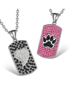 Heart Wolf Paw Austrian Crystal Love Couples Best Friends Dog Tag White Fuscia Pink Black Necklaces